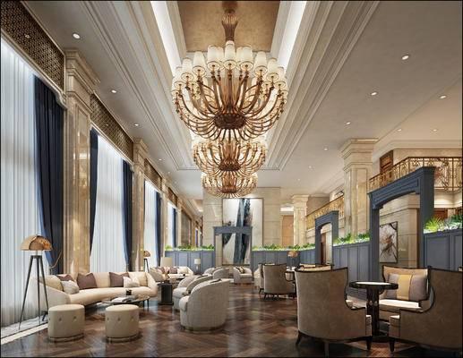 会客区, 多人沙发, 吊灯, 落地灯, 沙发凳, 椅子, 壁画, 现代