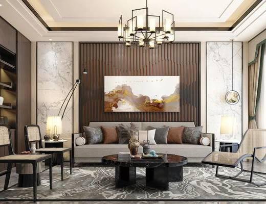 沙发组合, 单椅, 茶几, 装饰画, 吊灯, 装饰柜