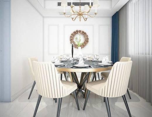 美式简约, 桌椅组合, 吊灯, 餐具组合