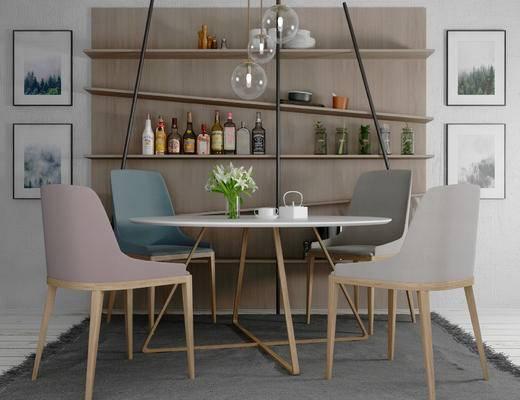 现代, 餐桌, 挂画, 吊灯, 花瓶, 植物, 椅子, 置物架, 瓶罐
