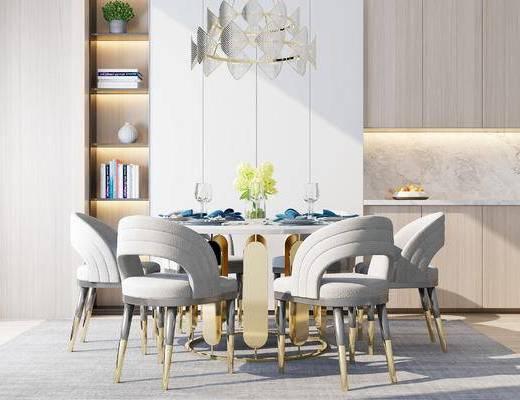桌椅组合, 桌子, 椅子, 吊灯, 置物柜, 现代