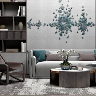 现代客厅, 多人沙发, 茶几, 椅子, 置物柜, 现代
