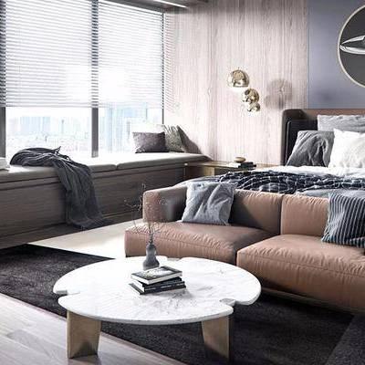 北欧卧室, 双人床, 双人沙发, 壁画, 茶几, 边几, 台灯, 北欧