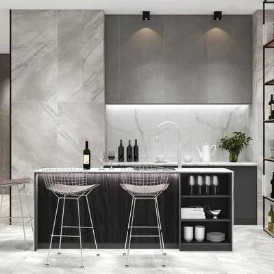 北欧简约, 厨房, 桌椅组合, 餐具组合, 置物架, 下得乐3888套模型合辑
