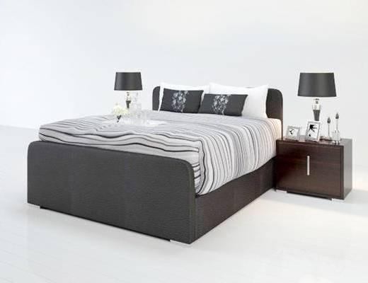 现代简约, 双人床, 床具组合, 台灯, 床头柜