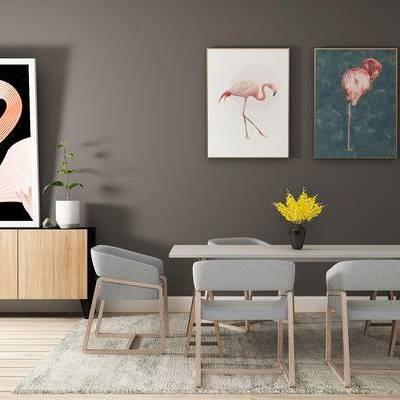 边柜, 桌子, 椅子, 壁画, 盆栽, 北欧