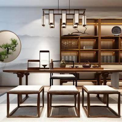 桌椅组合, 吊灯, 桌子, 椅子, 置物柜, 壁画, 花瓶, 新中式