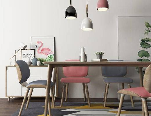 桌椅组合, 桌子, 椅子, 吊灯, 边柜, 北欧
