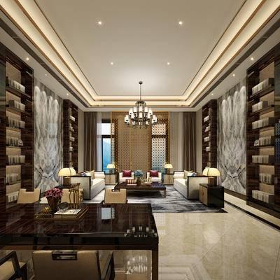 会客厅, 多人沙发, 吊灯, 台灯, 茶几, 边柜, 置物柜, 桌子, 椅子, 新中式
