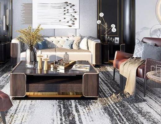 后现代, 沙发茶几组合, 台灯, 陈设品组合