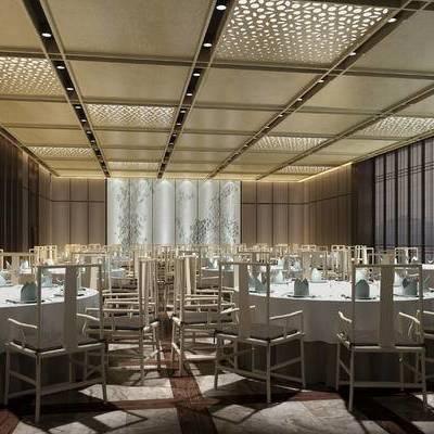 中式宴会厅, 壁画, 桌子, 椅子, 中式