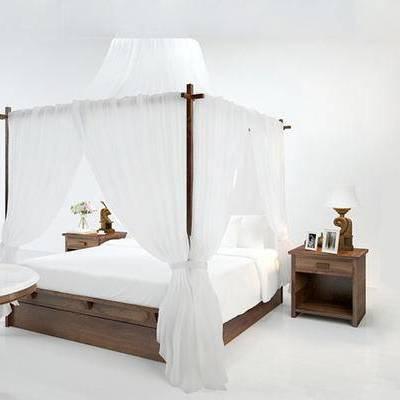 美式, 双人床, 床头柜