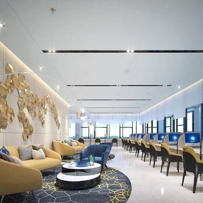 会客区, 多人沙发, 壁画, 椅子, 茶几, 落地灯, 地毯, 现代