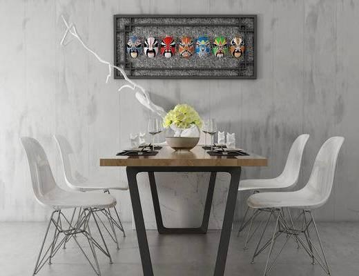 单椅, 桌子, 壁画, 花瓶, 工业风