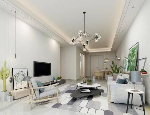 北欧客厅, 吊灯, 多人沙发, 茶几, 边几, 台灯, 壁画, 盆栽, 椅子, 电视柜, 北欧