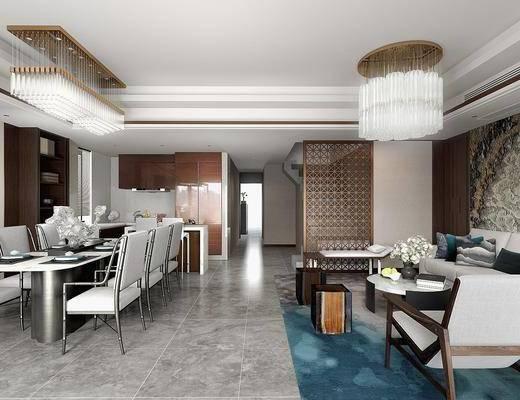 新中式客餐厅, 多人沙发, 桌子, 椅子, 茶几, 吊灯, 地毯, 新中式