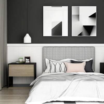 床具组合, 双人床, 壁画, 吊灯, 床头柜, 北欧