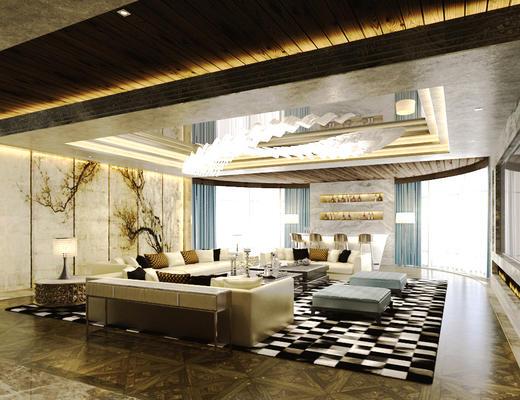 现代简约, 中式, 沙发茶几组合, 吊灯, 陈设品组合