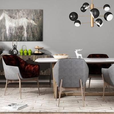 桌椅组合, 吊灯, 壁画, 边几, 现代