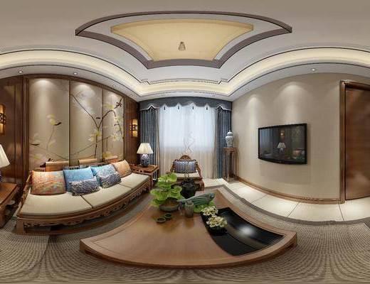 新中式客厅, 新中式沙发茶几组合, 壁画, 边几, 台灯, 壁灯, 相框, 花瓶, 地毯, 新中式