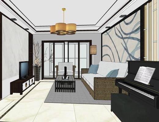 客厅, 新中式, 吊灯, 沙发组合