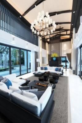 新中式庭院客厅, 沙发茶几组合, 多人沙发, 吊灯, 茶几, 地毯, 新中式