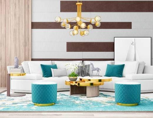 沙发组合, 多人沙发, 茶几, 凳子, 吊灯, 现代