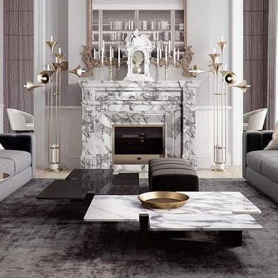 现代客厅, 茶几, 多人沙发, 边几, 置物柜, 壁炉, 壁画, 沙发凳, 现代