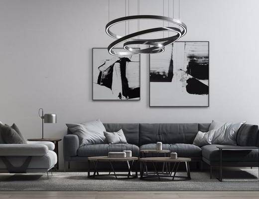 现代简约, 沙发茶几组合, 吊灯, 台灯, 现代