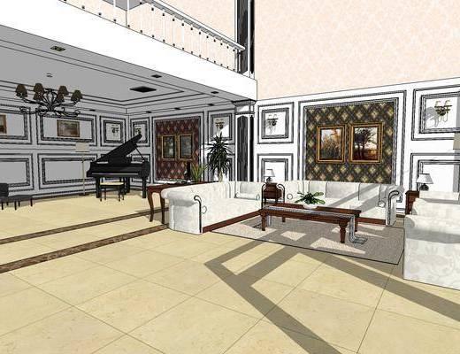 欧式客厅, ?#35789;?#23458;厅, 客厅, 沙发组合