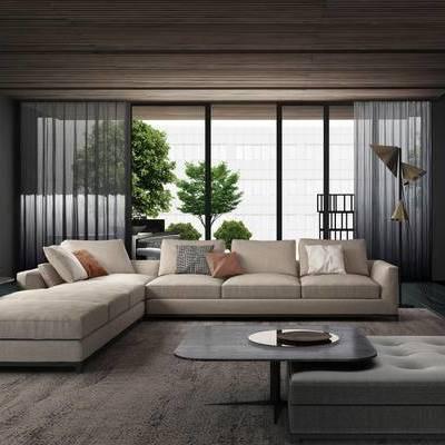 现代简约, 沙发茶几组合, 落地灯, 植物, 现代, 下得乐3888套模型合辑