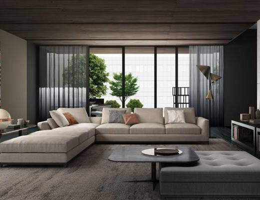 现代简约, 沙发茶几组合, 落地灯, 植物