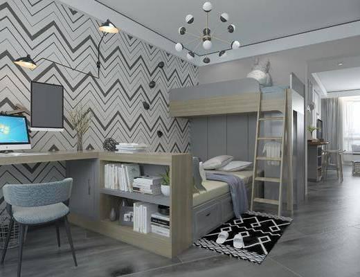 现代简约卧室, 上下床, 储物柜, 桌椅组合, 吊灯, 飘窗, 壁灯, 地毯, 现代简约