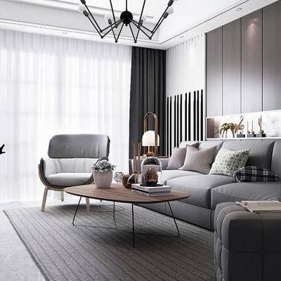 现代客厅, 椅子, 多人沙发, 吊灯, 沙发凳, 电视柜, 边几, 台灯, 置物柜, 地毯, 现代