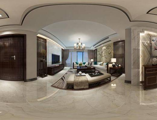 新中式客餐厅, 新中式玄关, 桌椅茶几组合, 壁画, 吊灯, 电视柜, 边几, 台灯, 相框, 花瓶, 边柜, 桌椅组合, 沙发躺椅, 地毯, 新中式