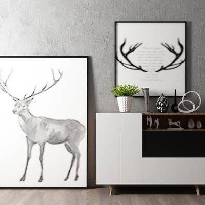 边柜, 壁画, 盆栽, 北欧