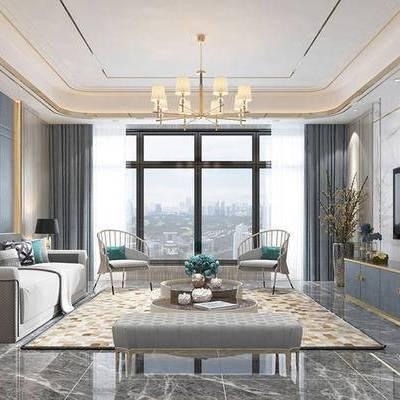 后现代客厅, 吊灯, 电视柜, 多人沙发, 壁画, 椅子, 边几, 台灯, 后现代