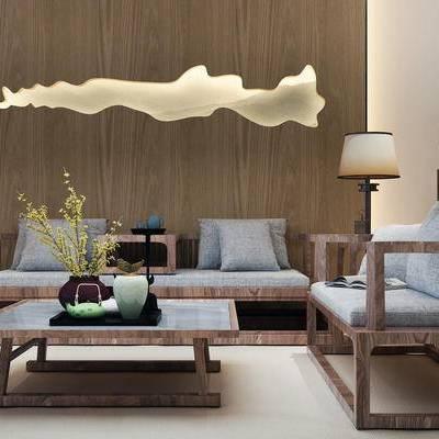 沙发组合, 新中式沙发, 茶几, 花瓶, 壁画, 边几, 盆栽, 椅子, 新中式