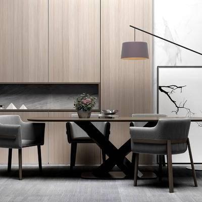 桌椅组合, 置物柜, 桌子, 椅子, 落地灯, 壁画, 现代