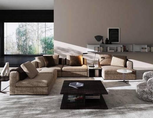 现代简约, 沙发茶几组合, 陈设品组合, 现代