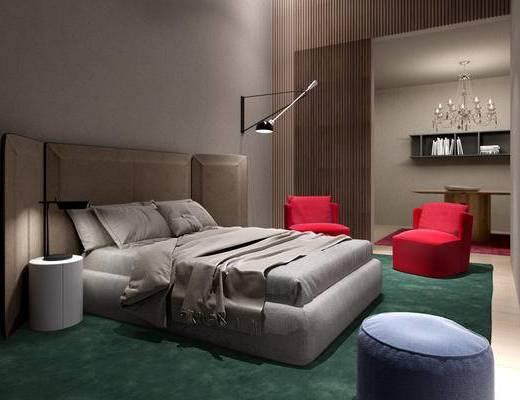 现代简约, 床具组合, 壁灯, 沙发茶几, 意大利Meridiani, 下得乐3888套模型合辑