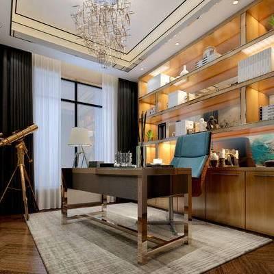现代书房, 置物柜, 桌子, 椅子, 吊灯, 壁画, 台灯, 地毯, 现代