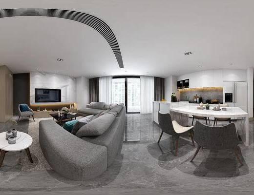 现代客餐厅, 多人沙发, 边几, 电视柜, 椅子, 桌子, 茶几, 橱柜, 壁画, 现代