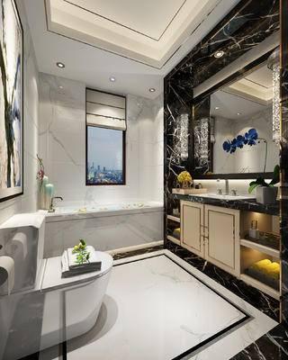现代卫浴, 洗手台, 马桶, 盆栽, 浴缸, 现代