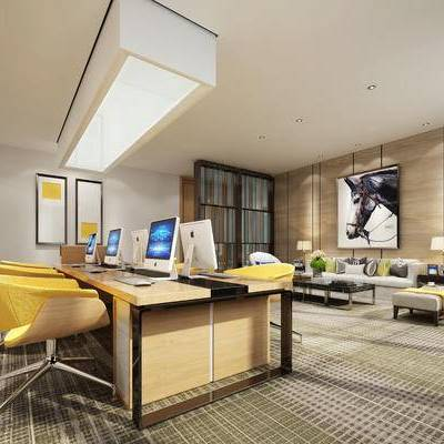现代办公室, 壁画, 桌子, 电脑, 椅子, 台灯, 边几, 多人沙发, 置物柜, 现代