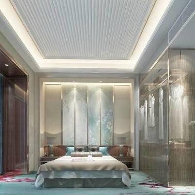 床具组合, 壁画, 床头柜, 台灯, 衣柜, 浴缸, 欧式
