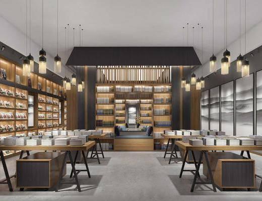 中式书店, 书桌, 书柜, 凳, 中式