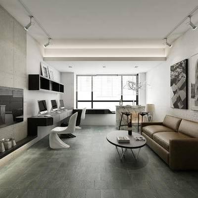 现代, 现代客厅, 客厅, 沙发组合, 沙发茶几组合