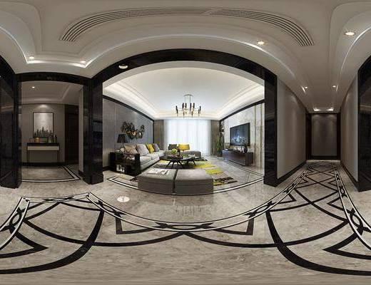 现代港式客餐厅, 现代沙发茶几组合, 电视柜, 吊灯, 边几, 台灯, 沙发凳, 壁画, 边柜, 现代桌椅组合, 现代