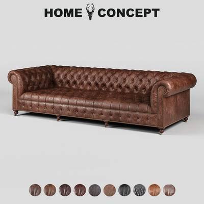 美式复古多人沙发, 美式多人沙发, 复古多人沙发